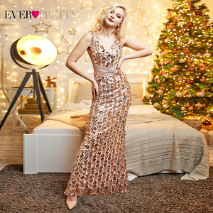 Image 2 - Sparkle Gorgeous Gold Evening Dresses Long Ever Pretty EP07872 Mermaid Sexy Sequined Elegant Evening Gowns 2020 Robe De Soiree