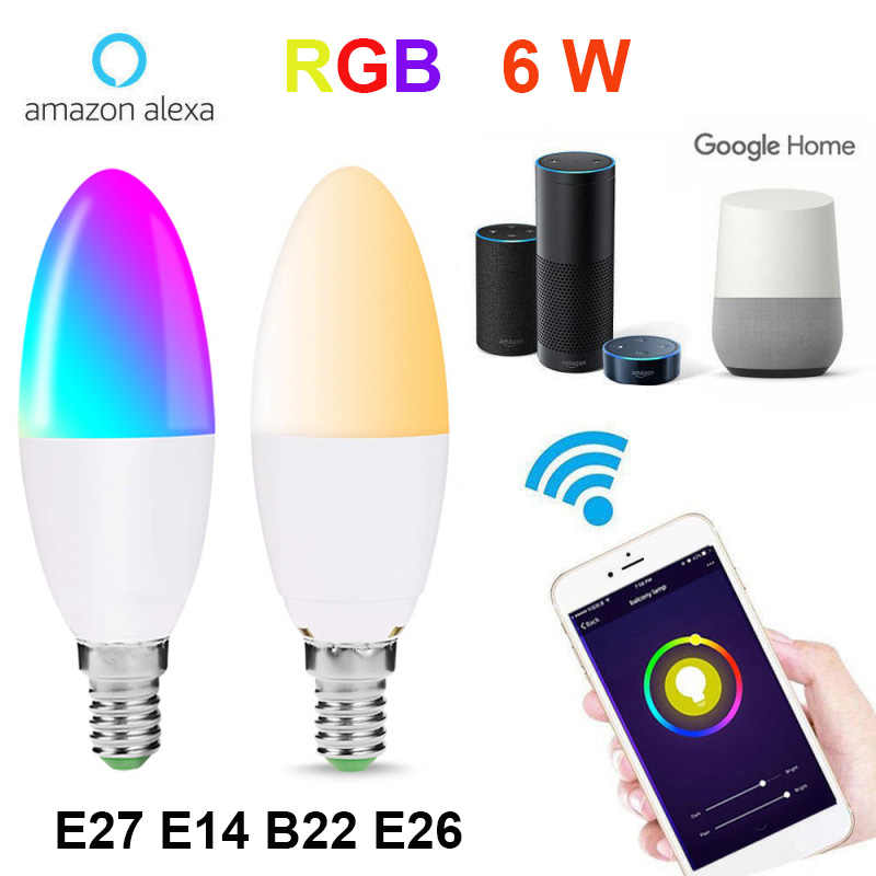 E27 E14 B22 WiFi สมาร์ทหลอดไฟ 6W Dimmable Multicolor Wake-Up ไฟ RGBW LED โคมไฟ alexa Google Assistant