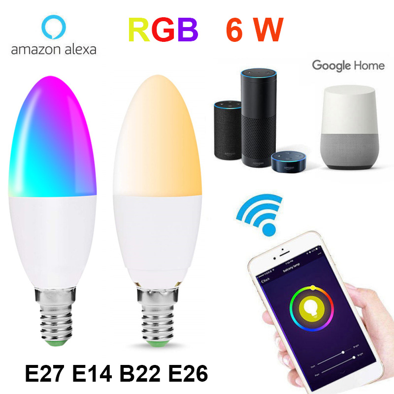 E27 E14 B22 WiFi Smart Light Bulb Candle 6W Dimmable Multicolor Wake-Up Lights RGBW LED Lamp Work with Alexa Google Assistant
