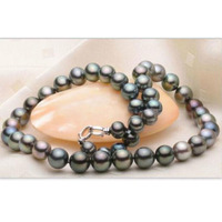 stunning10 11mm tahitian multicolor black green red pearl necklace 18inch