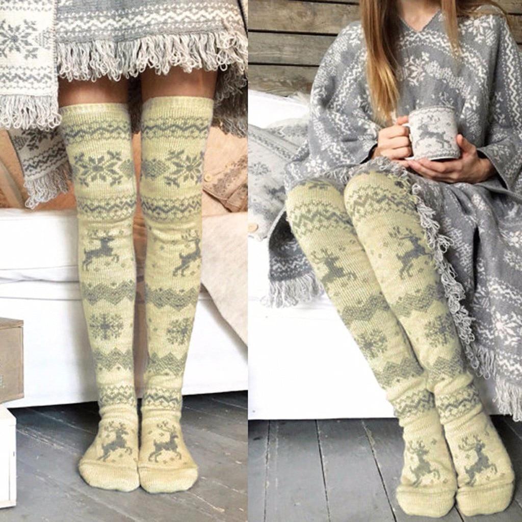 1pcs Women Christmas Thigh High Long Stockings Knit Over Knee Winter Warm Socks to Match Short Dress Well Winter Long Socks