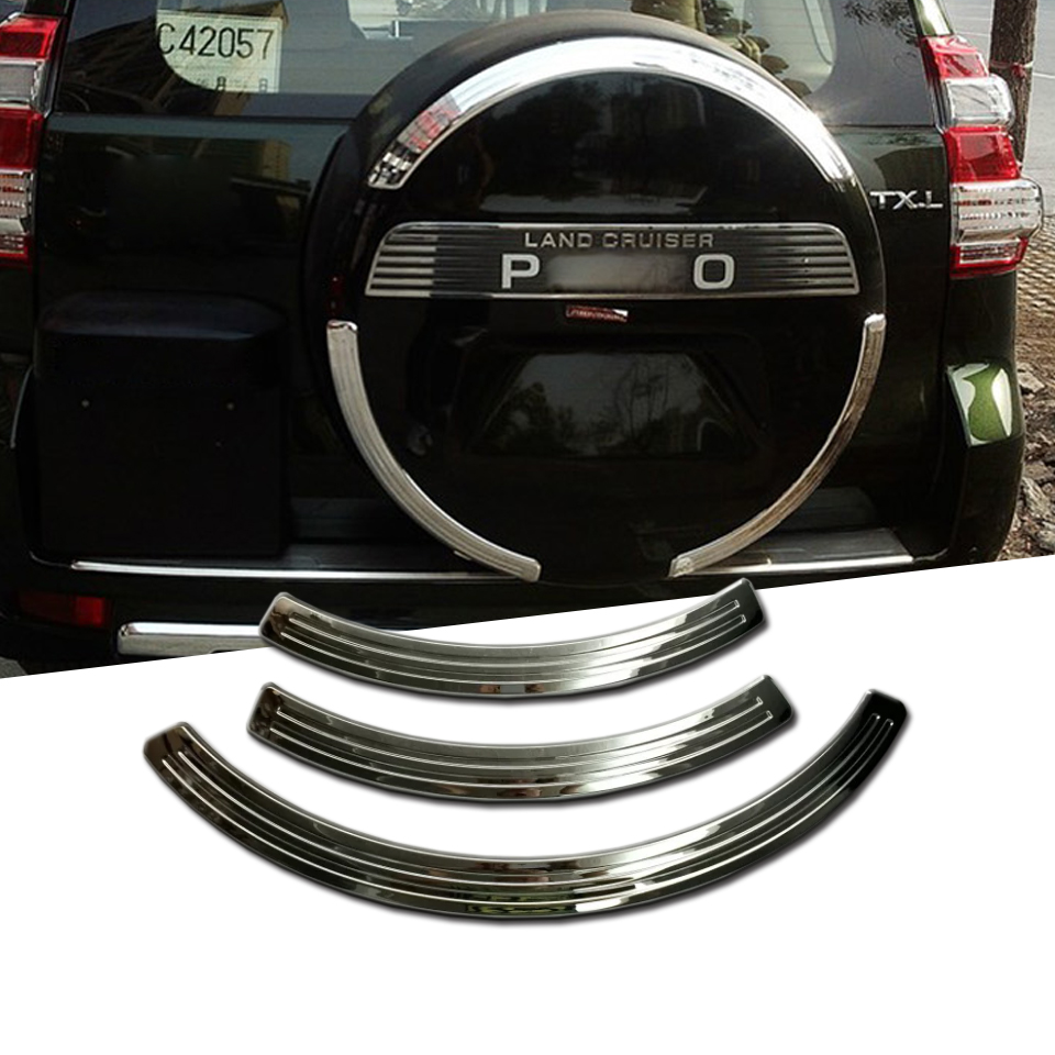 <font><b>3</b></font> Pcs For Toyota Cruiser Prado FJ150 FJ <font><b>150</b></font> 2010 - 2019 ABS Chrome Rear Spare Tire Cover Sticker Decorative Trims image
