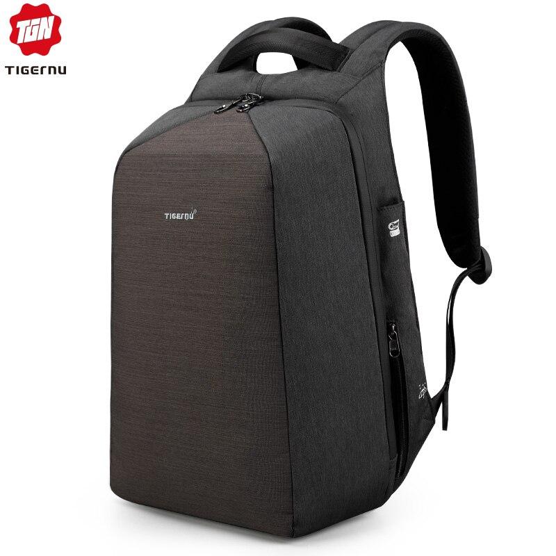 Tigernu متعددة الوظائف مكافحة سرقة USB كمبيوتر محمول على ظهره عارضة اليومية السفر 15.6 بوصة حقيبة لابتوب ظهره للرجال النساء Mochila-في حقائب الظهر من حقائب وأمتعة على  مجموعة 1