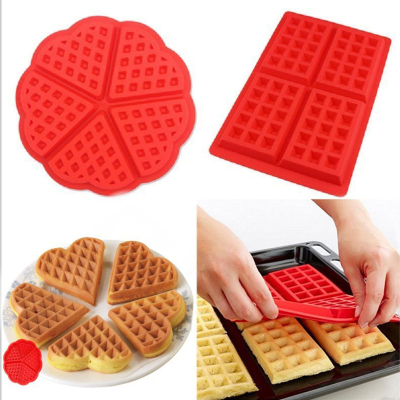 DIY Silicone Waffle Mold Cake Chocolate Craft Candy Baking Cookie Muffin Bakeware Cooking Tools Waffle Maker Baking Tray Mold