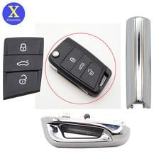 Xinyuexin brilhante peça de metal chave almofada para vw gollf 7 mk7 para skoda octavia a7 para seat remoto keyless peça de metal para golf mk7