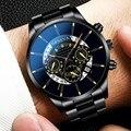 Mode Kühlen Einzigartige Digitale Wörtliche Multi Schicht Zifferblatt Quarz Männer Mesh Gürtel Uhr Automatische Luxus Uhr Männer Wasserdichte Mechaniker