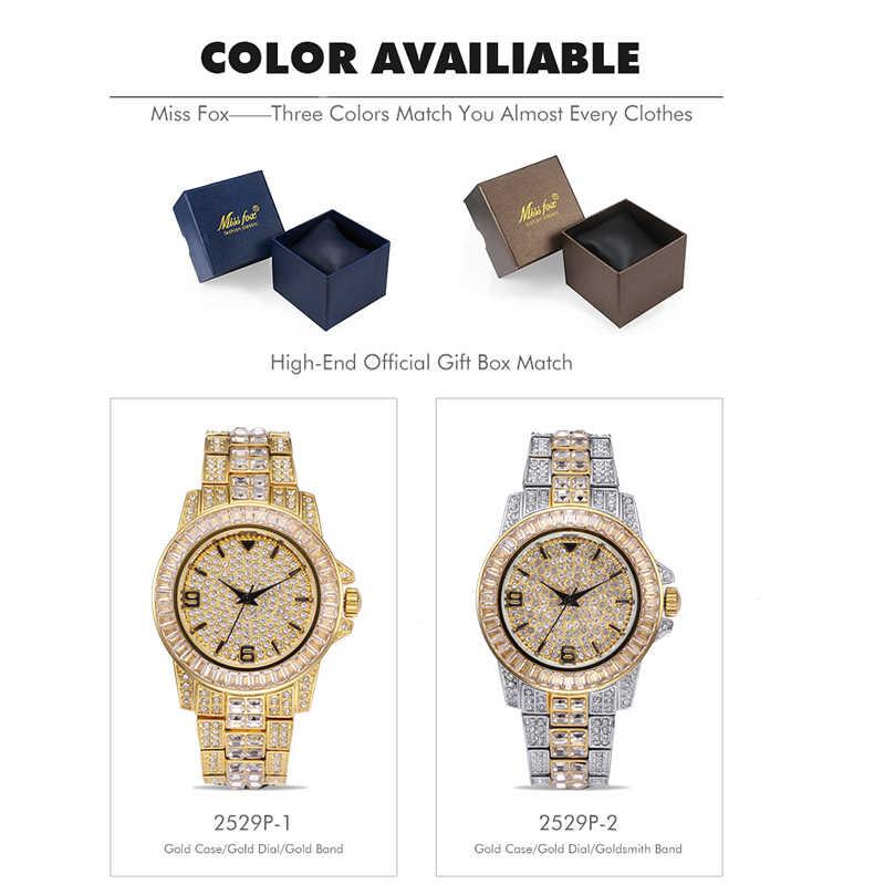 MISSFOX חדש אופנה יוקרה גדול מותג גבוהה-סוף מלא יהלומי פיאות גברים של שעונים אוטומטי עמיד למים קוורץ Relogio Masculino