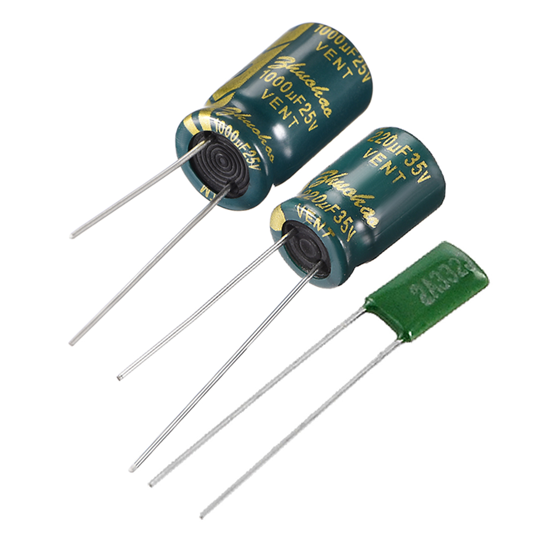 uxcell <font><b>25V</b></font> 35V 400V 2.2 10 22 100 <font><b>220</b></font> 470 1000uF 36 Electrolytic Capacitor for DIY Project Soldering image