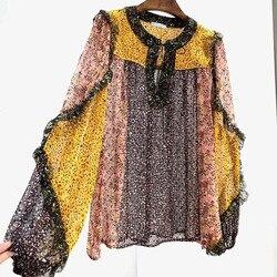 100% натуральный шелк блузки 2020 весна лист печати с длинным рукавом подиумный модный стиль элегантные оборки Лоскутные рубашки топы