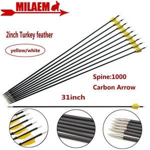 """Image 1 - 6/12 31 Inch Bắn Cung Carbon Mũi Tên Spine1000 Tổng Hợp Sợi Carbon Mũi Tên ID4.2mm 2 """"Thổ Nhĩ Kỳ Lông Vũ Săn Bắn phụ Kiện Chụp"""