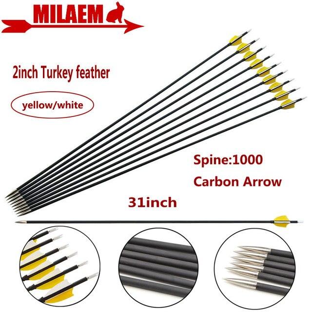 """6/12 31 Inch Bắn Cung Carbon Mũi Tên Spine1000 Tổng Hợp Sợi Carbon Mũi Tên ID4.2mm 2 """"Thổ Nhĩ Kỳ Lông Vũ Săn Bắn phụ Kiện Chụp"""