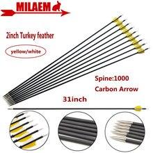 """6/12 stücke 31 zoll Bogenschießen Carbon Pfeil Spine1000 Composite Carbon Pfeil ID 4,2mm 2 """"Türkei Feder Jagd schießen Zubehör"""