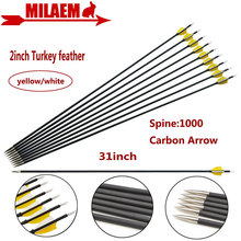 "6/12pcs 31inch Archery Carbon Arrow Spine1000 Composite Carbon Fiber Arrow ID4.2mm 2""Turkey Feather Hunting Shooting Accessories"