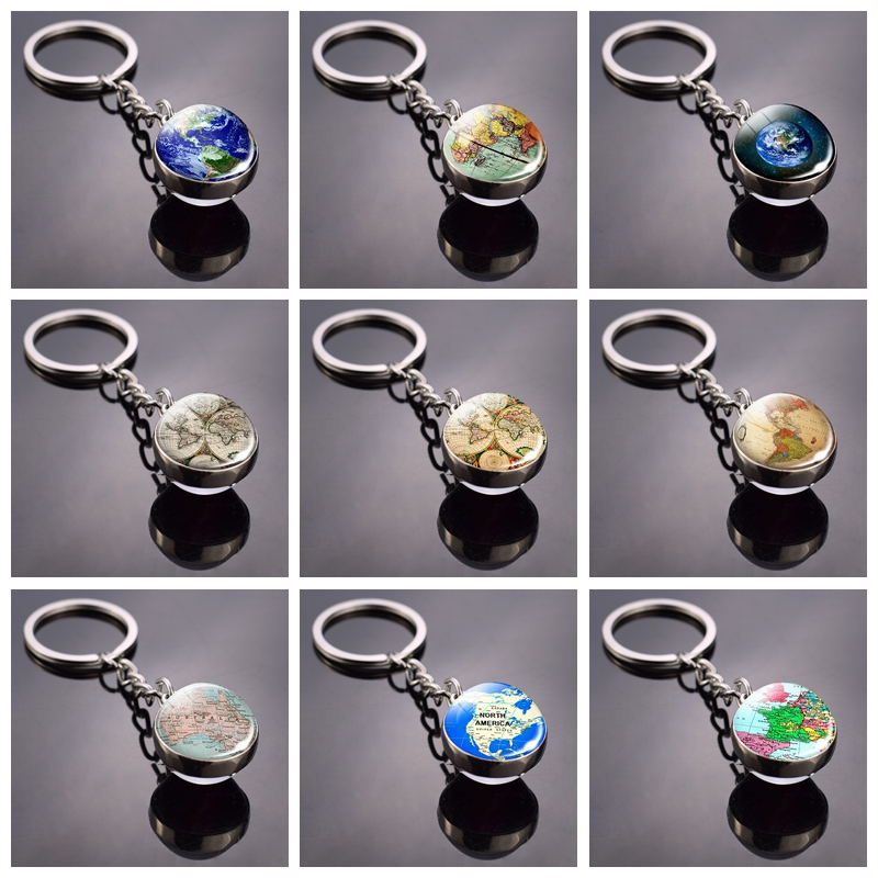 World Map Double Side Glass Ball Keychain Globe Earth Keyring Pendant Americas Europe Australia Map Jewelry Key Chains Keyfob