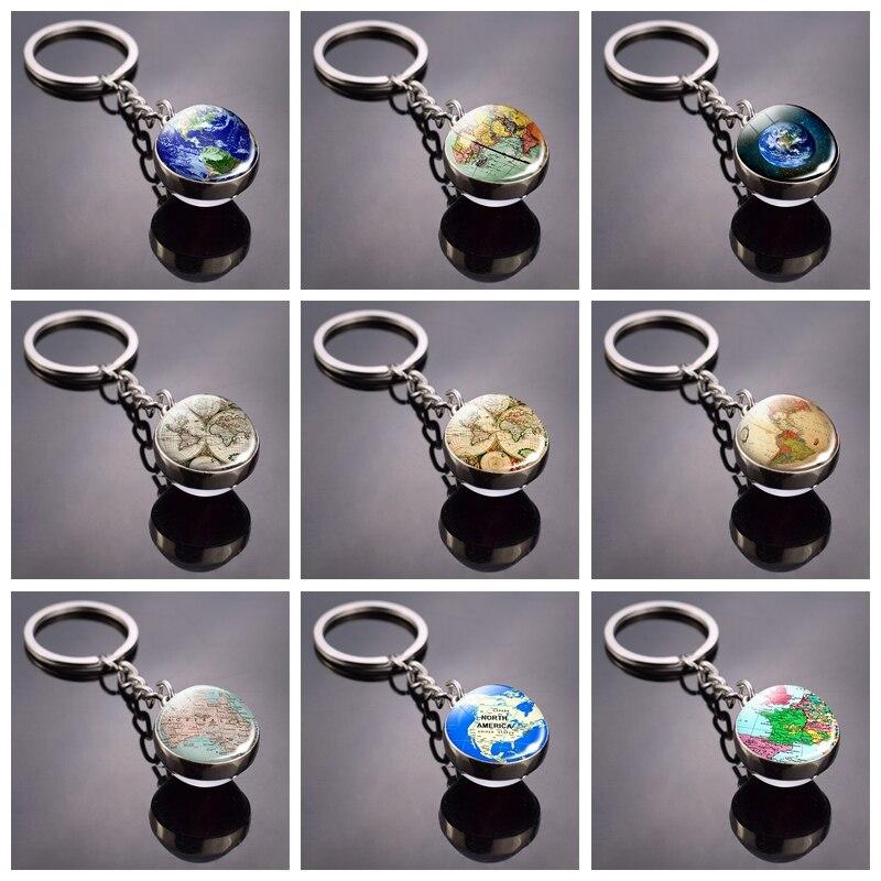 World Map Double Side Glass Ball Keychain Globe Earth Keyring Pendant Americas Europe Australia Map Jewelry Key Chains Keyfob
