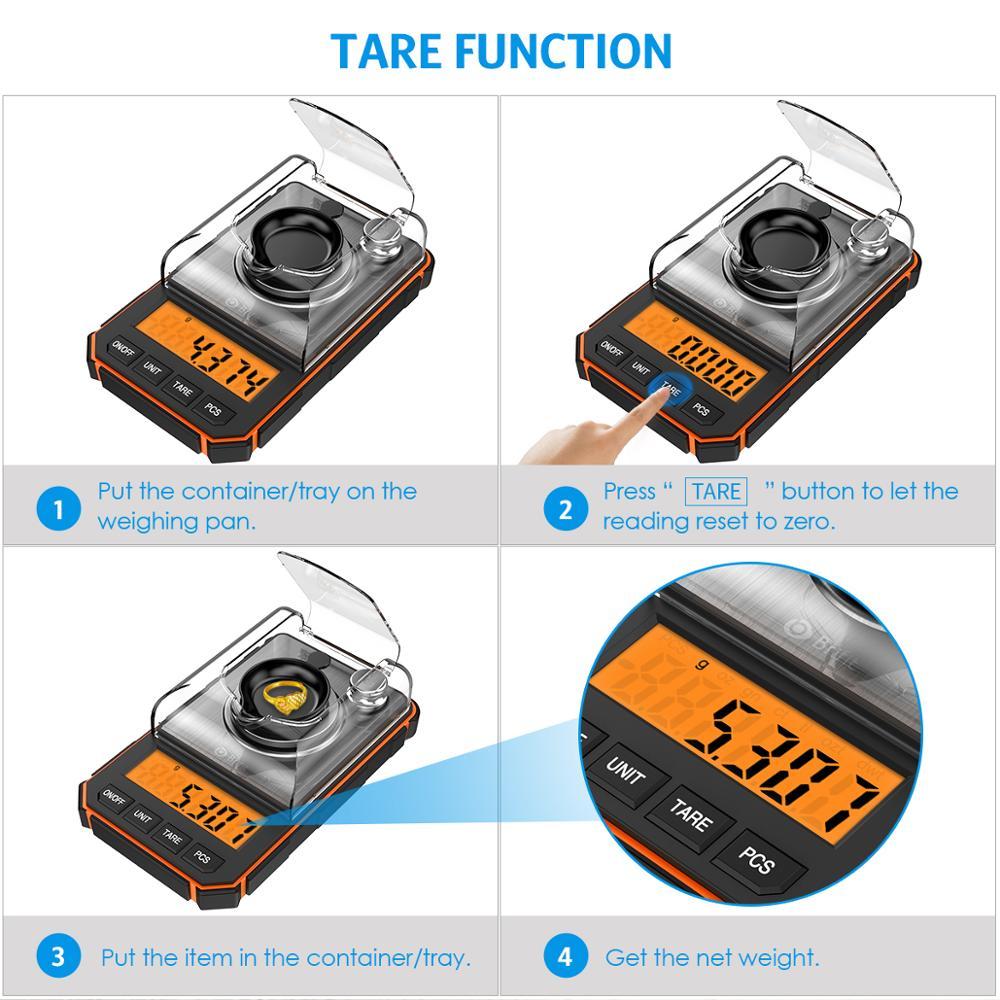0.001g Digital Scale Portable Mini Scale Precise Graduation Professional Pocket Scale Milligram 50g Calibration Weights Tweezer 5