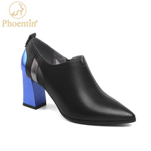 Women Shoes Phoentin High-Heels Genuine-Leather Pointed-Toe Black New-Fashion Zip FT1339