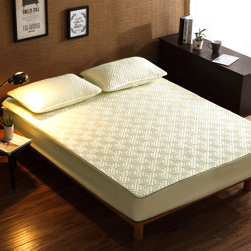 ADOREHOUSE Solid Color Embossed Quilted Mattress Protector 160X200 Mattress Topper Anti-mite Non-slip Bed Cover 4 Colors