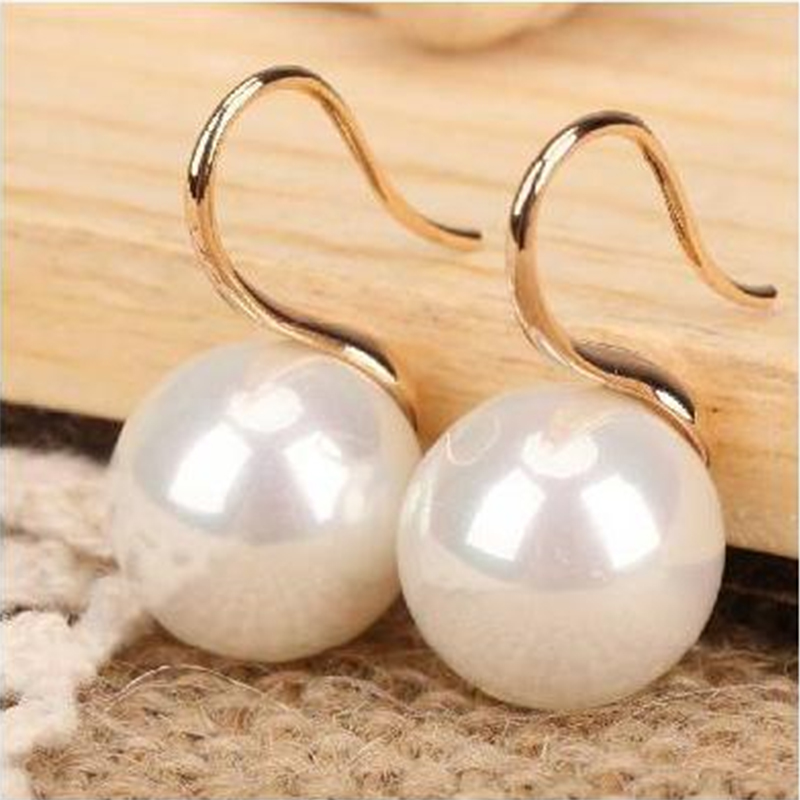 Simple Vintage Pearl Earring For Women Girls Fashion Crystal Eardrop Ear Jewelry Accessories Mujer White Hook Stud Earrings