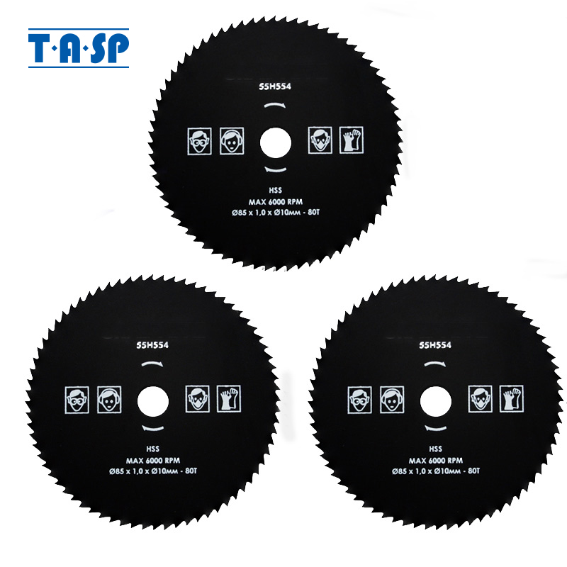 TASP 3PCS HSS Circular Saw Blade 80T 85x1.8x10mm High Speed Steel For Metal Working Power Tool Accessories