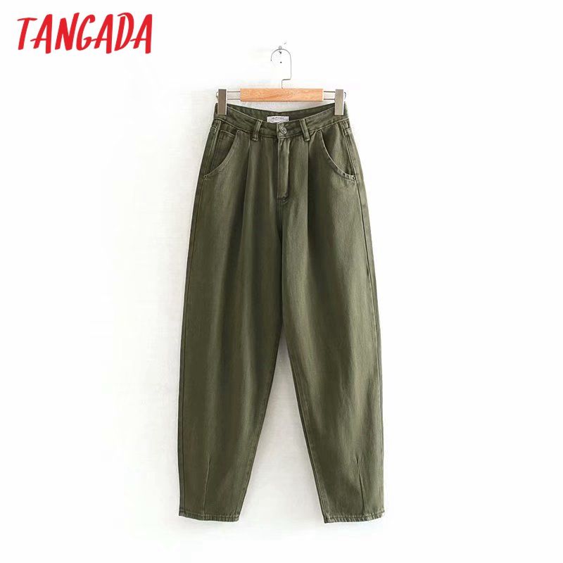 Tangada Women Amygreen Chic Mom Jeans Pants Boyfriend Style Long Trousers Pockets Zipper Loose Casual Female Denim Pants 4M108