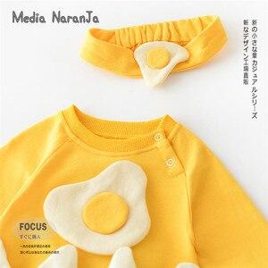 Image 3 - 2019 ฤดูใบไม้ร่วงใหม่เสื้อผ้าเด็กทารกแรกเกิดการ์ตูนไข่แขนยาว Robe กับแถบคาดศีรษะทารกเด็กวัยหัดเดินเครื่องแต่งกายตลก