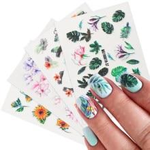 5D grawerowane Verde naklejki do paznokci tropikalne liście kwiatowe naklejki wodne rzeźbione linie koronkowe suwaki do paznokci manicure BEMG01-48