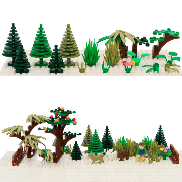City Accessory Building Blocks Military Weapon Green Bush Flower Grass Tree Plants House Toy Compatible Bricks