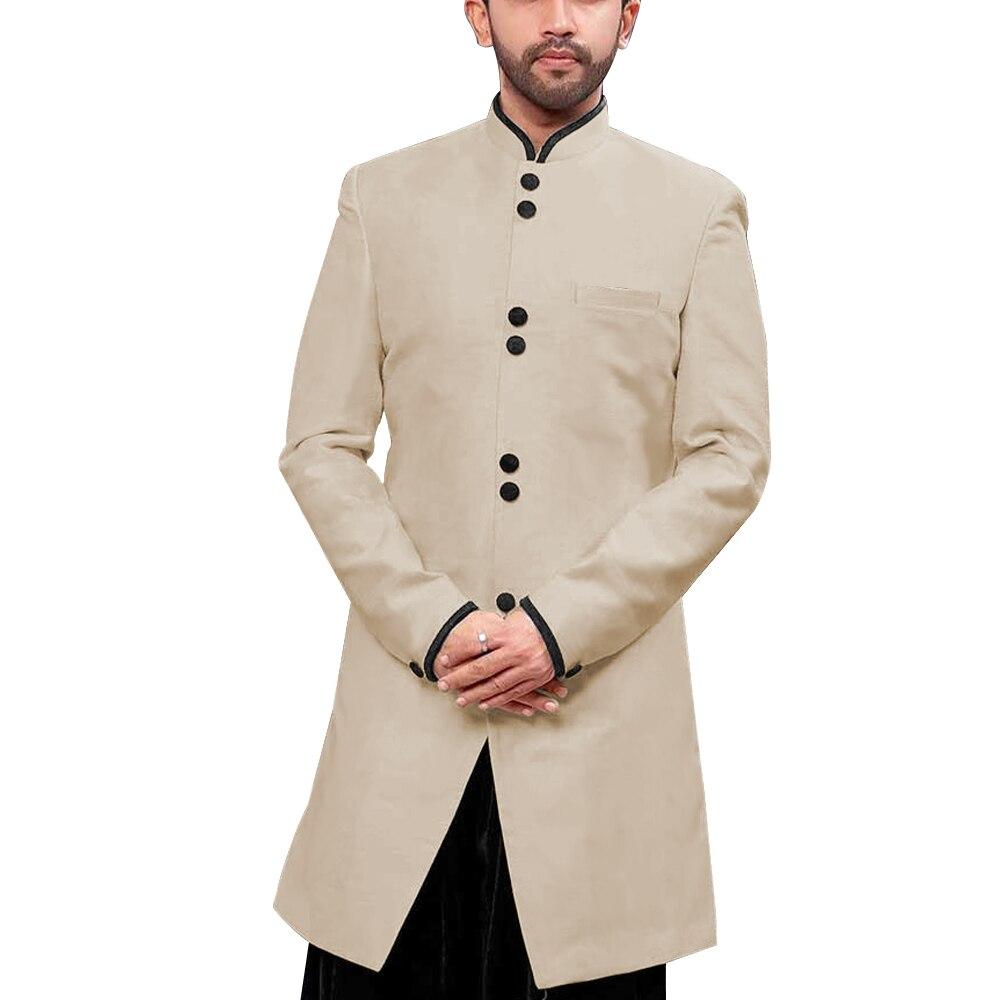 Mandarin Kragen Traditionelle Männer Anzug Jacke Stand up Kragen Modest Lange Blazer Indische Formales Ereignis Mantel Hochzeit Bräutigam Oberbekleidung - 5