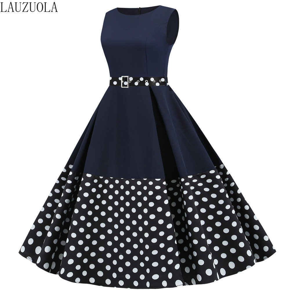 Plus size Polka Dot Patchwork Women Summer Dresses 2020 Office Clothing Vintage 50s 60s Pinup Party Rockabilly Dress Knee-Length