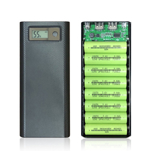 5V 2A Dual USB 8*18650 Power Bank Holder Case Type C USB Battery Box Mobile Phone Charger DIY Shell With LCD Digital Display DIY quick charge version 5v dual usb 8 18650 power bank case mobile phone charger qc 3 0 diy shell 18650 battery holder charging box