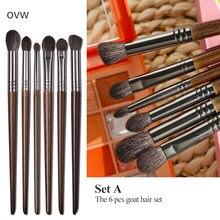 OVW 2/6 Stk Lidschatten Make-up Pinsel Set Natürliche Ziegenborsten Kosmetisches Make-up-Pinsel-Werkzeug Markieren Sie das Pinselmischset