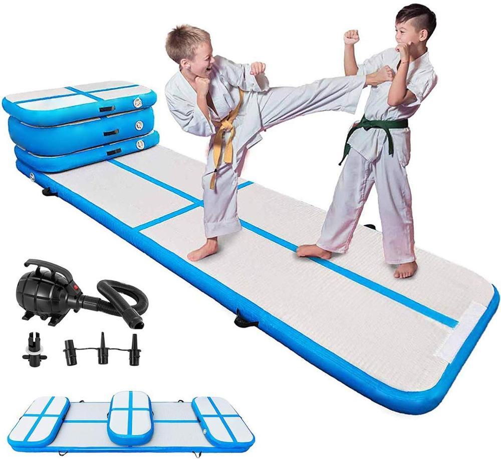 Air Track  Gymnastics Air Track Tumbling Mat For Gymnastics Martial Arts Cheerleading Tumble Track With Pump Blue 4pcs+1 Pump