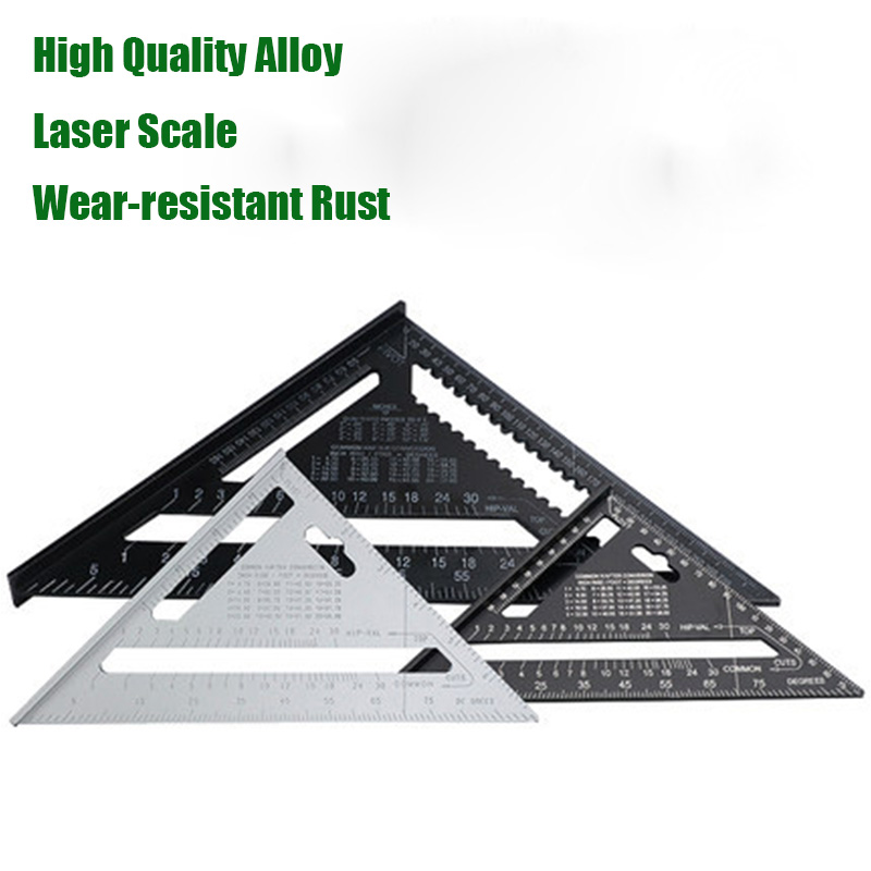 7'' 12'' Triangle Angle Protractor Aluminum Alloy Angle Ruler Miter for Framing Building Artists Woodworking Measuring Tools