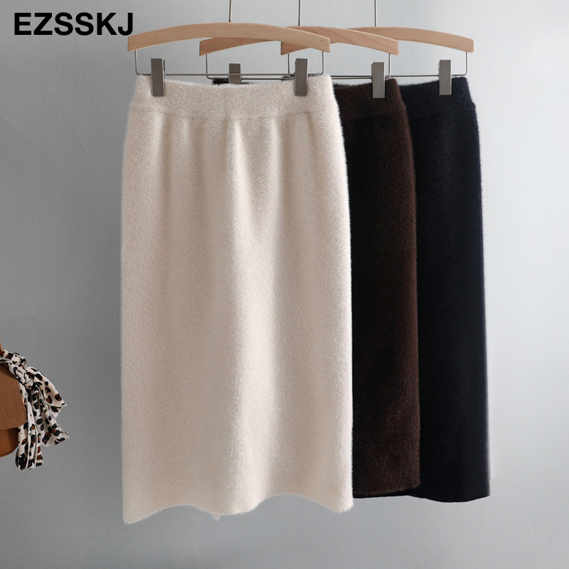 knee length autumn winter women mink cashmere pencil skirt female thick midi sweater skirt sexy split back bodycon skirt-in Skirts from Women's Clothing