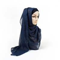 2020 Ladies Fashion Scarf ?????? Plain Shimmer Silver Shawl Bling Zig Zag Big Size Wrap Headband Hijabs Muslim Sjaal