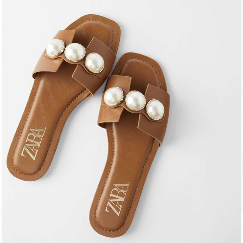 Pearl Shoes Women ZA Shoes Summer Slippers Women Pearl Decoration Slides Women Flat Slippers Women Elegant Slides Women