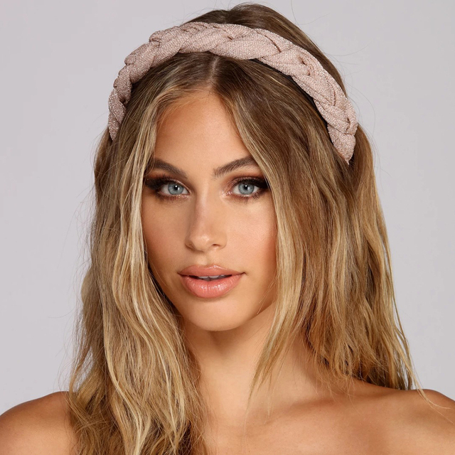 MOLANS Hair Accessories Wide Shiny Weaving Hairbands Braided Headband Hair Hoop Fashion Hair Bands Bezel Headdress 5