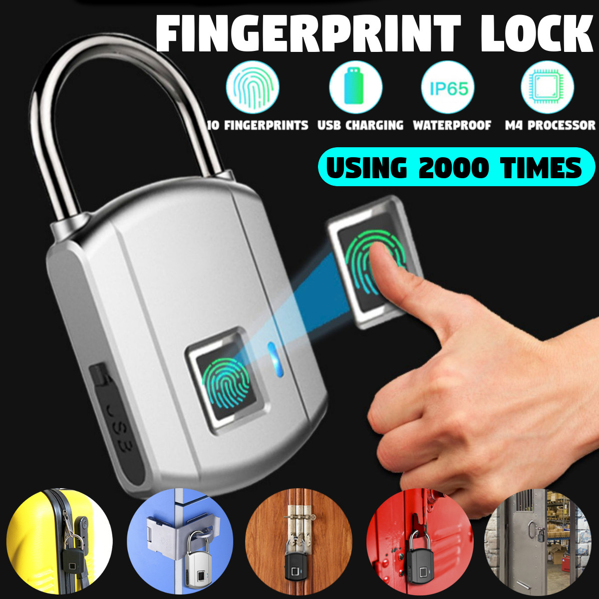 Rechargeable Smart Keyless Electronic Fingerprint Lock USB Home Anti-theft Safety Security Padlock Door Luggage Case Lock