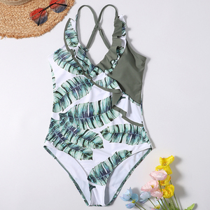 Image 5 - Riseado Leaf Print Swimsuit Swimwear Women V neck Bathing Suit Ruffle Beachwear Backless Womens Swimming Suit 2020 Summer