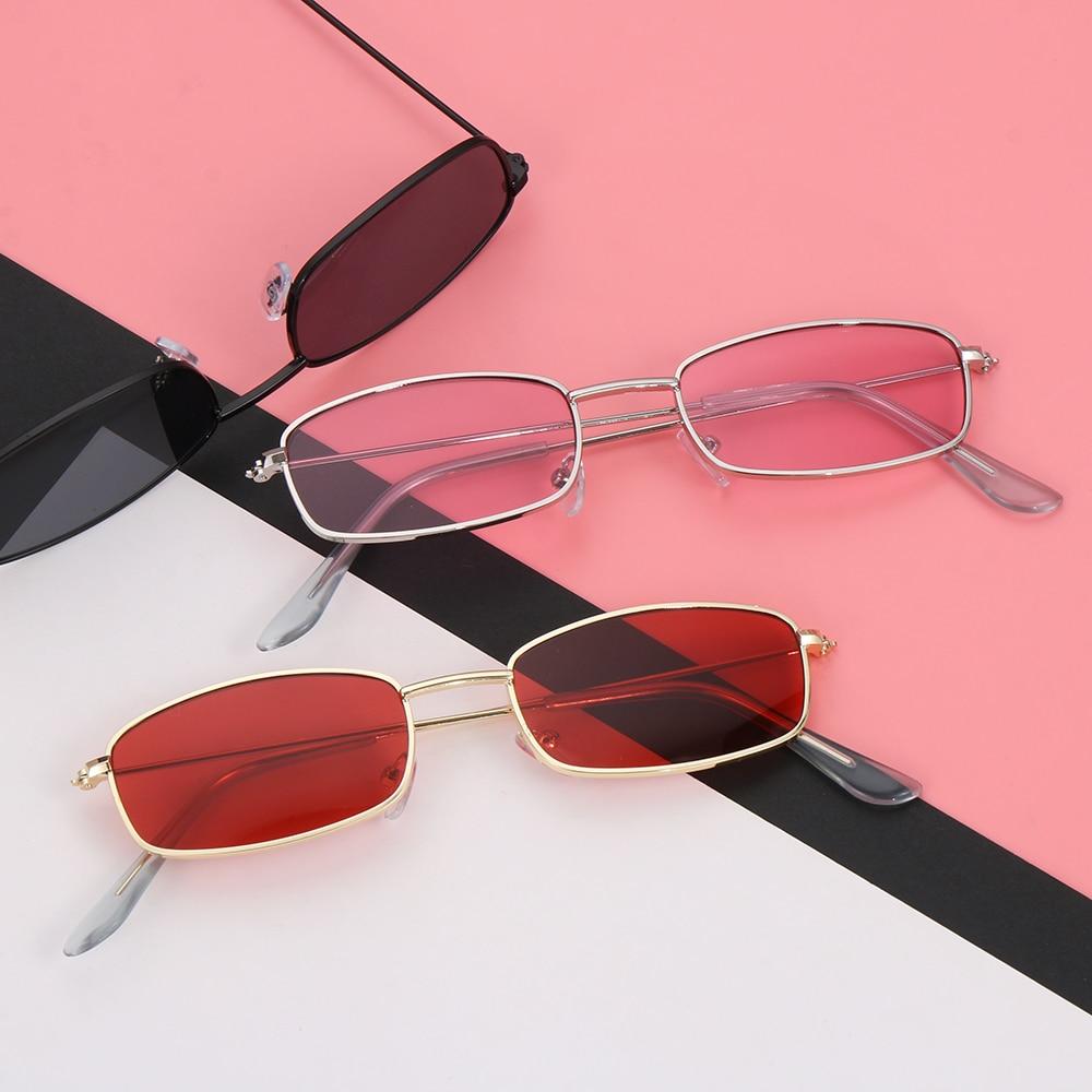 Colori caramelle montatura in metallo occhiali da sole rettangolari piccole tonalità retrò occhiali da sole UV400 per uomo donna occhiali da guida occhiali estivi 1