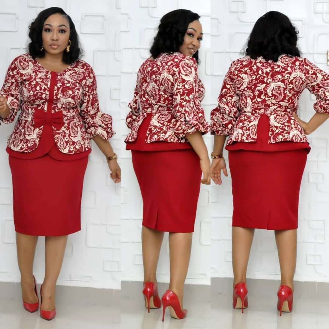 2019 Autumn Elegent Fashion Style African Women Polyester Plus Size Knee-length Two Pieces Sets Top And Skirts XL-4XL