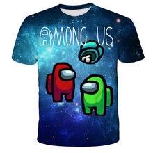 Entre nós camisetas crianças jogo de vídeo anime unicórnio dos desenhos animados camiseta 3d roupa das crianças colorido presente de verão para a menina topos