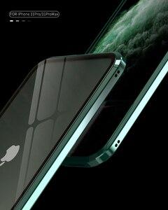 Image 2 - Dla iPhone 11 Pro Max przypadku luksusowe magnetyczne anty ciekawski z przodu z tyłu szkło hartowane 360 magnes Antispy ochronna pokrywa Coque