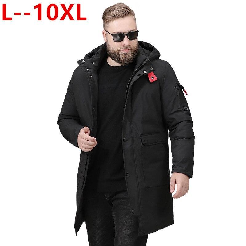 Grande taille 10XL 8XL hommes veste d'hiver russie long manteau chapeau fourrure col épais coupe-vent 90% blanc canard doudoune hommes-25 degrés