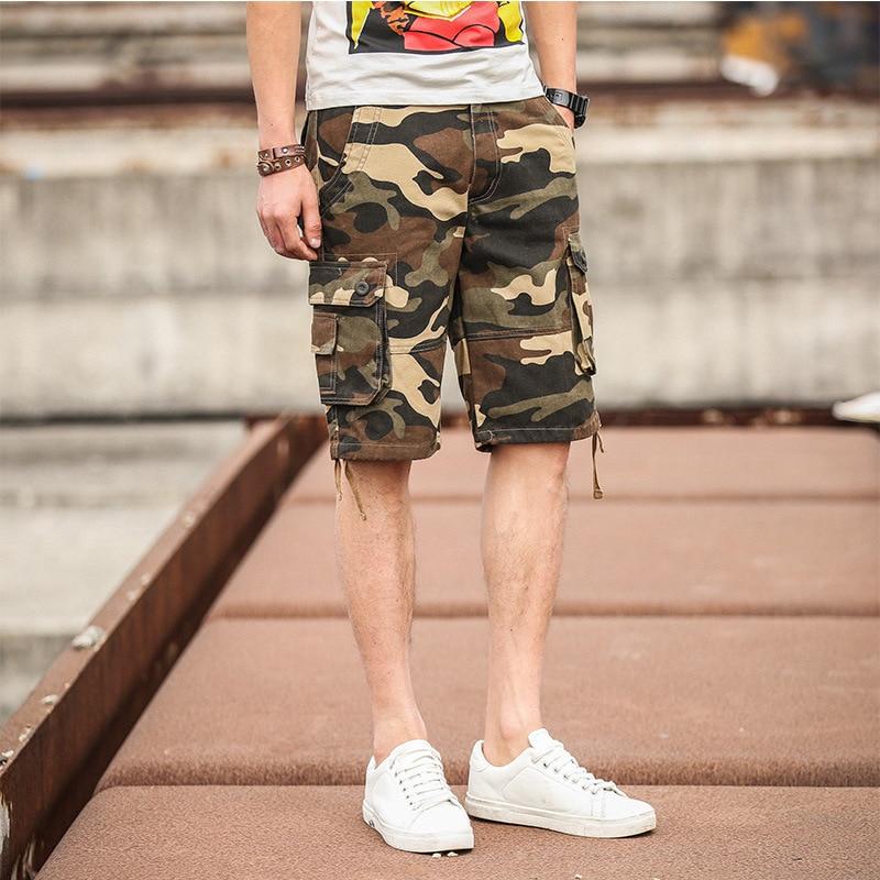Shorts Summer Men's Duo Kou Dai Ku Shorts Men's Casual Loose-Fit MEN'S Trousers Camouflage Workwear Shorts Men's