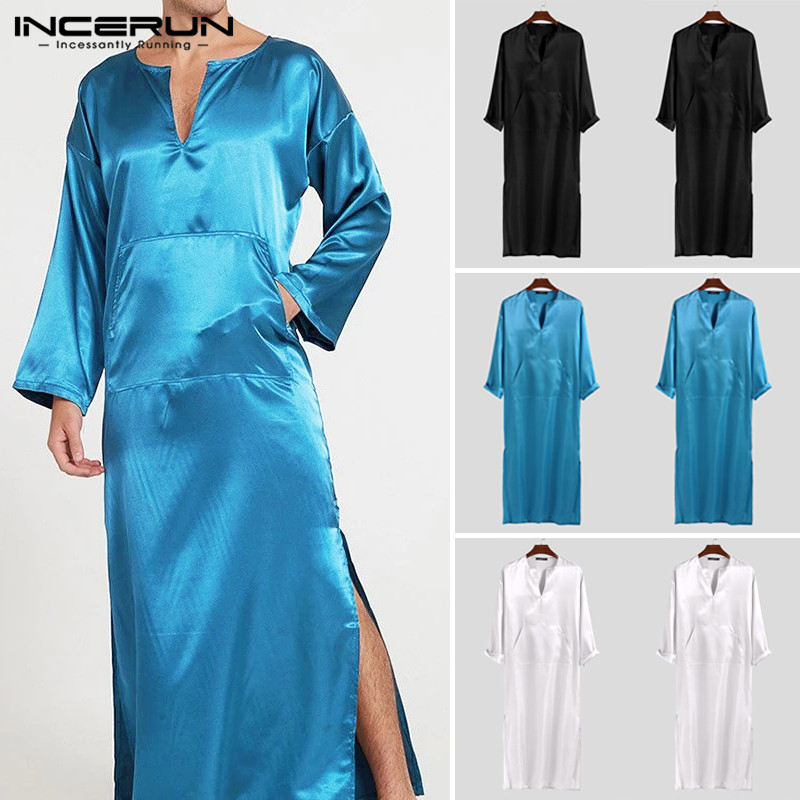 INCERUN Men Robes Pajamas Solid Long Sleeve V Neck Faux Silk Satin Homewear Pockets Fashion Men Bathrobes Nightgown Plus Size