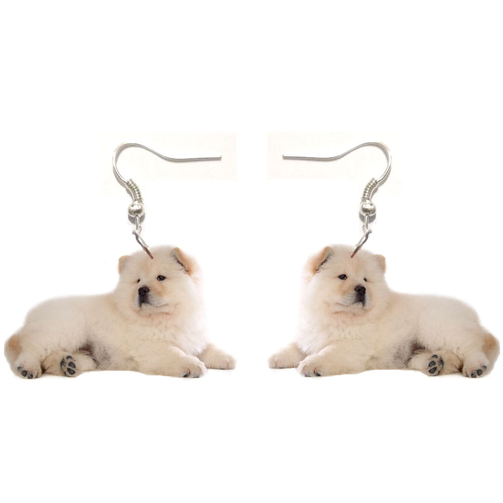 1 Pair Chowchow Acrylic Sit Chow Dog Earrings Stainless Steel Earring Animal Jewelry Women Gift Girl Fashion Men Charm Earrings