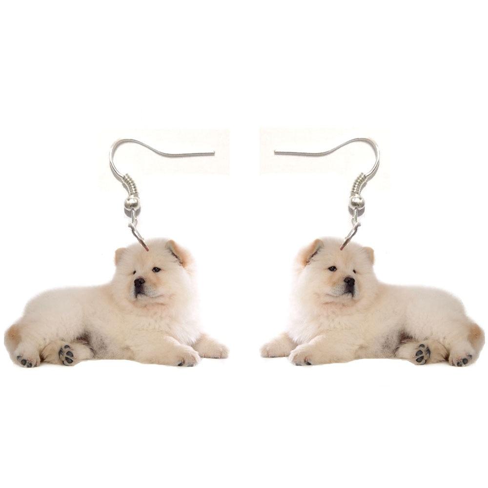 1 Pair Chowchow Acrylic Sit Chow Dog Earrings Stainless Steel Earring Animal Jewelry Women Gift Girl Fashion Men Charm Earrings