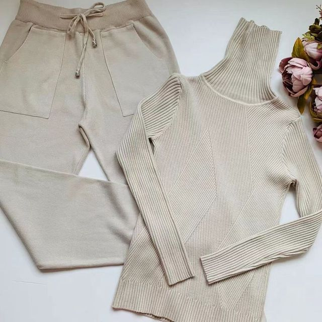 Knitted Tracksuit Sweater Casual Suit 2 Piece Set Pants Sporting Suit 1